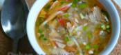 Суп из консервированной рыбы с крабовой «вермишелью»